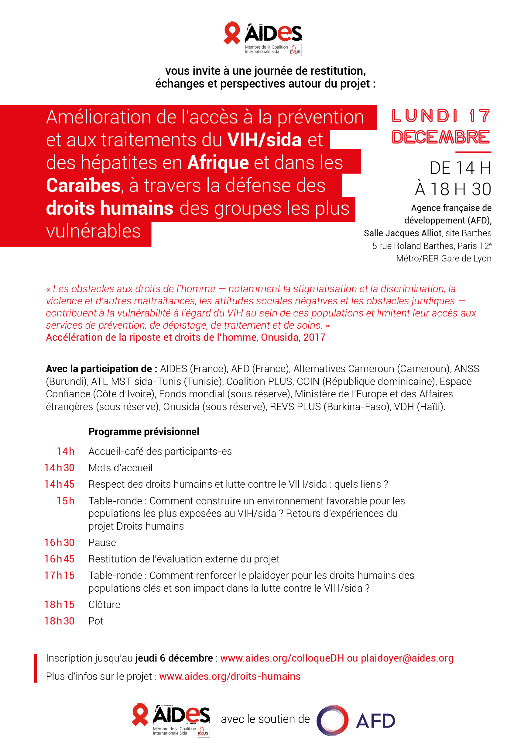 projet droits humains afd aides colloque